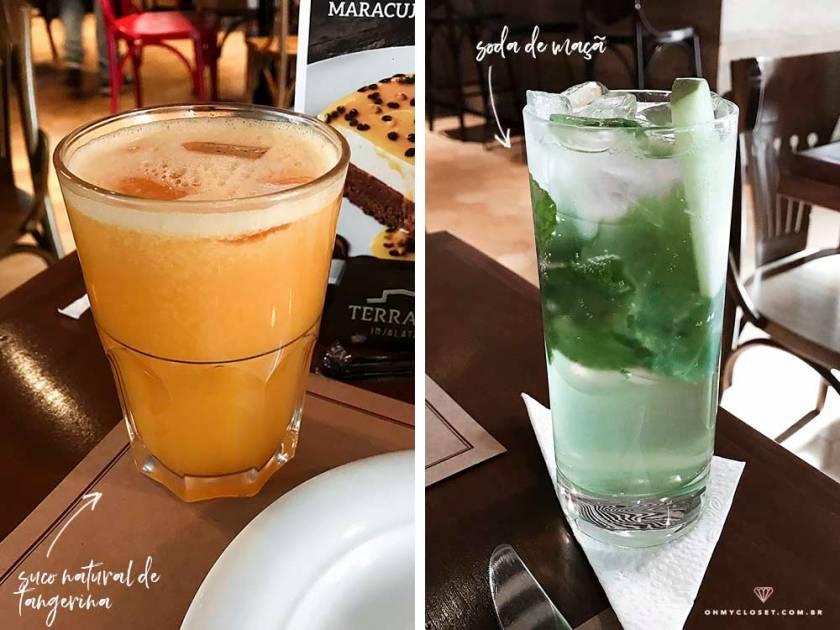 Bebidas no Terraço Insalata: suco de tangerina e soda de maçã.