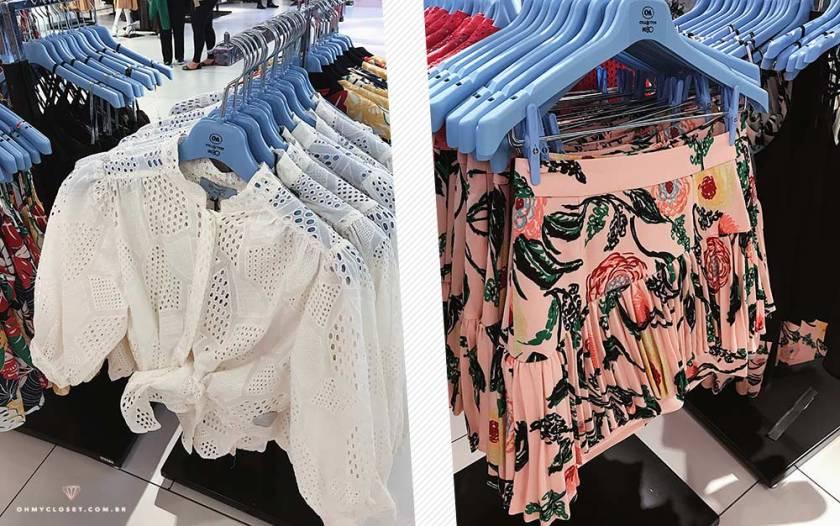 Look coleção PatBo para C&A com camisa de laise e saia tampada.
