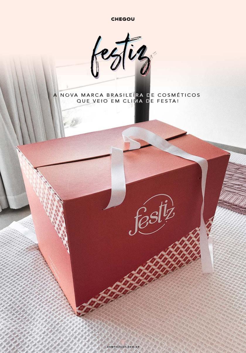 Caixa com produtos da Festiz, nova marca de cosméticos com venda exclusiva na The Beauty Box.
