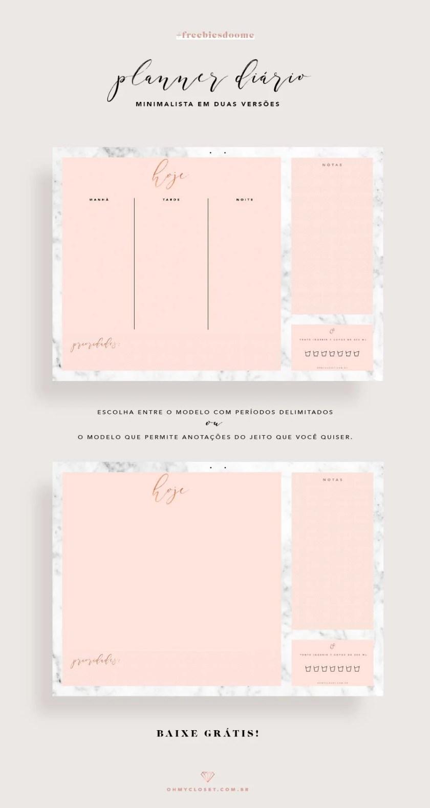 Planner diário minimalista em rosa blush e mármore, grátis para imprimir.