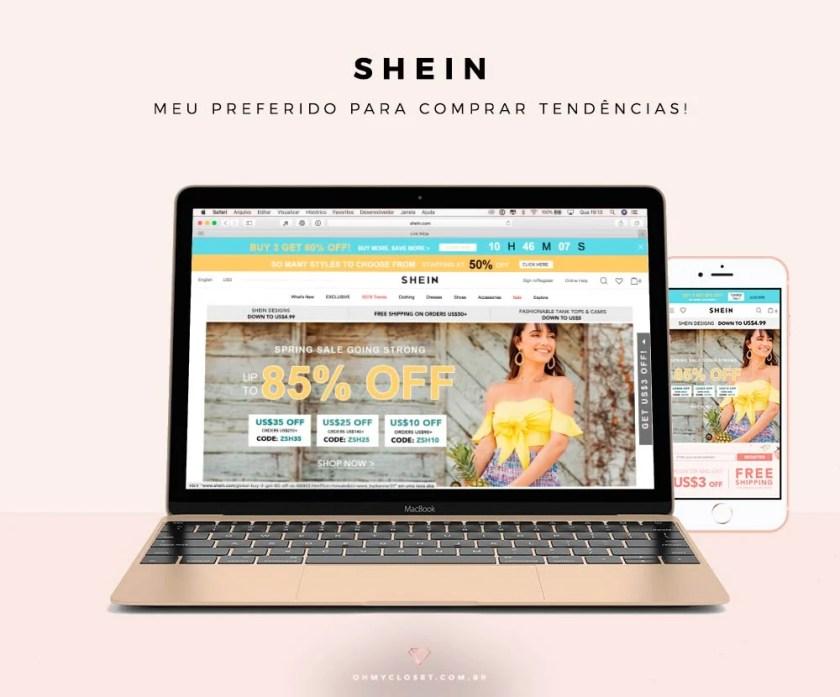 Sites chineses de roupas baratas, como a SheIn.