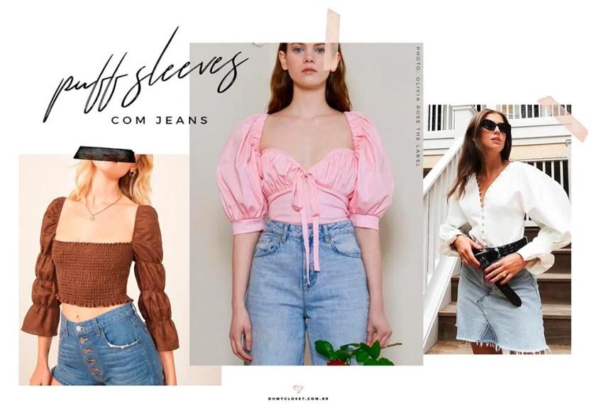 Como usar puff sleeves (manga bufante) com jeans no verão 2019.