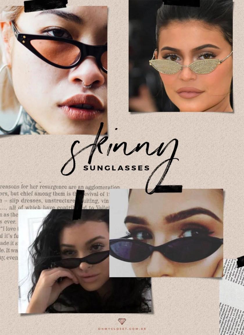 Skinny glasses Tiny sunglasses, como usara tendência de 2019.