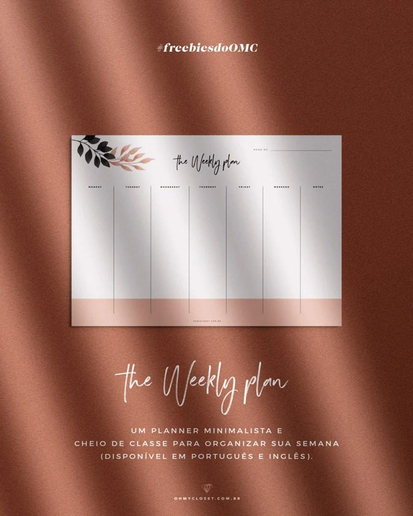 Planner semanal minimalista para download grátis, no Oh My Closet!