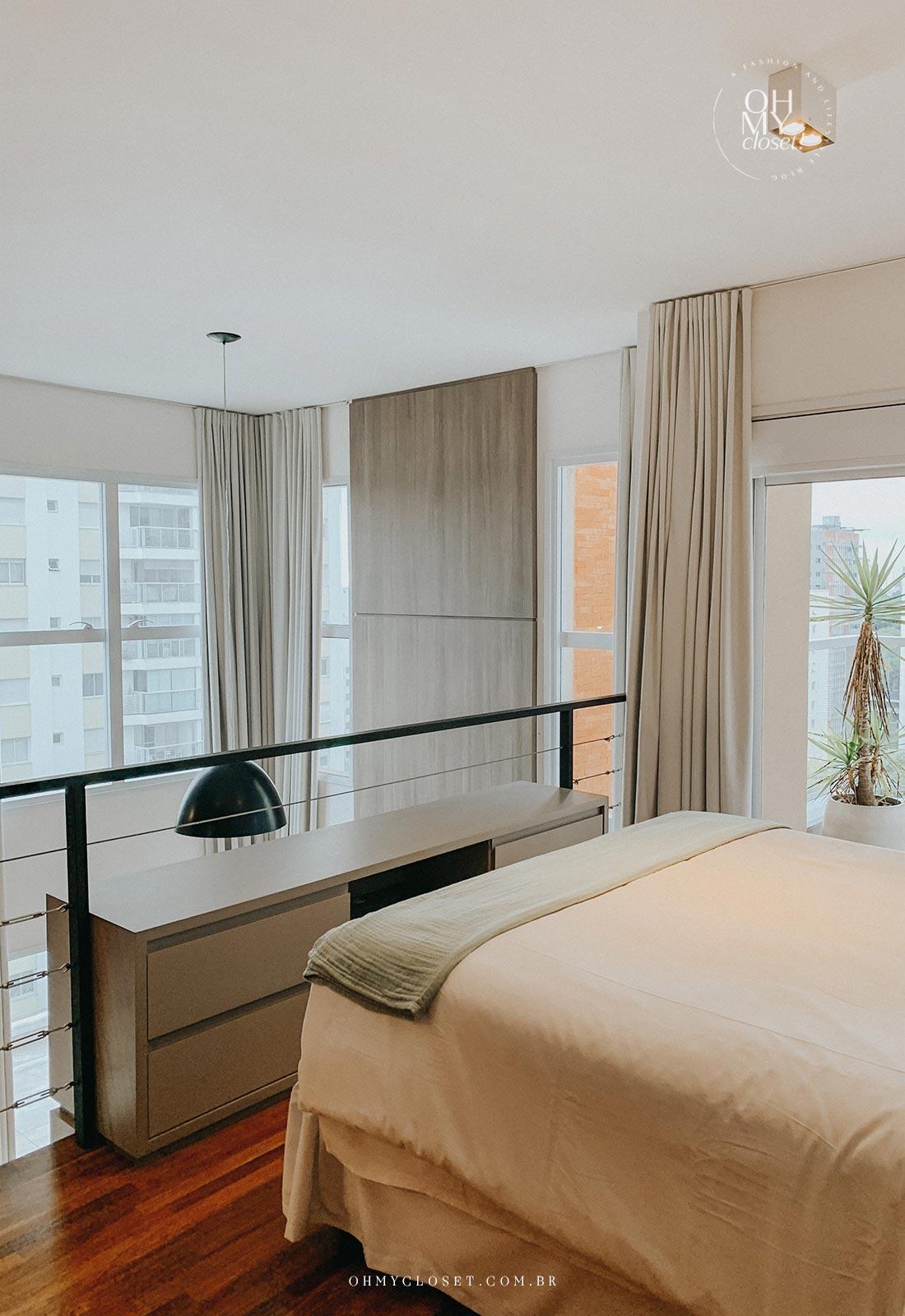 Cama segunda andar apartamento Airbnb nos Jardins em São Paulo.