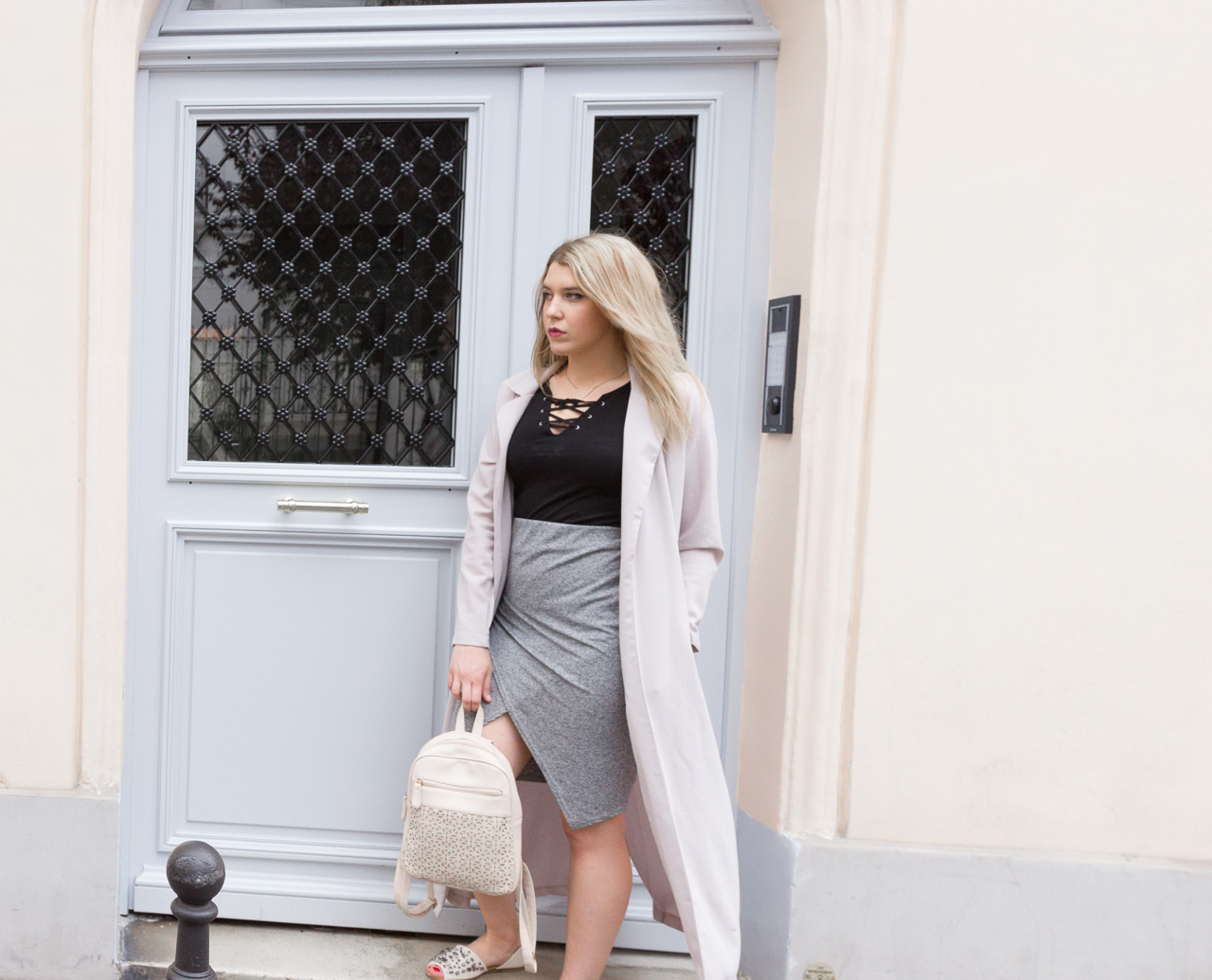 look blog blogueuse mode outfit fashion jupe portefeuille haut lacé missguided primark h&m justfab summer été