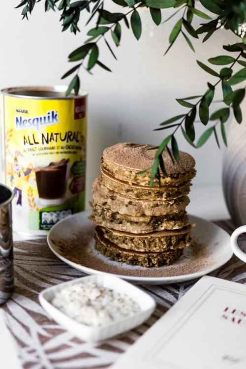 Pancakes flocons d'avoine et nesquik