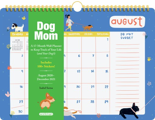 The cover of the Dog Mom Wall Planner shows a calendar page with dog-related illustrations like a leash and toys.