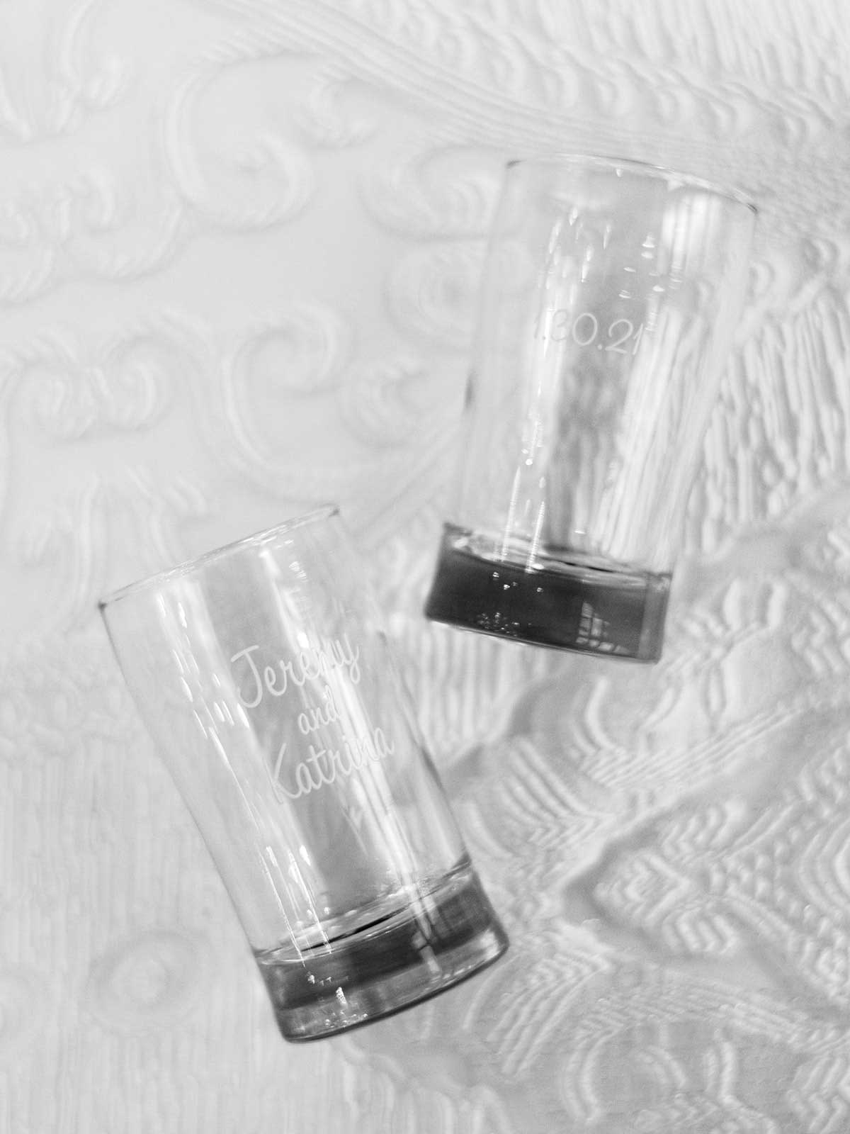 personalized cups with couple's name and wedding date.
