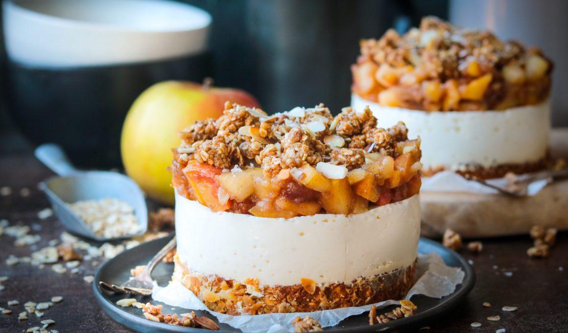Appelkruimel cheescake, glutenvrij en vegan