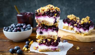 Cheesecake bites met blauwe bessen, glutenvrij én vegan