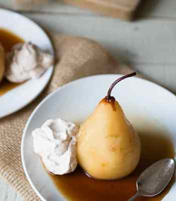 Chai Poached Pears with Cinnamon Whipped Cream Recipe