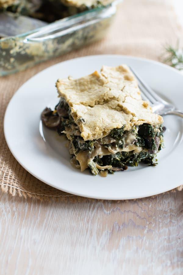Mushroom and Kale Lasagna with Rosemary Cashew Sauce