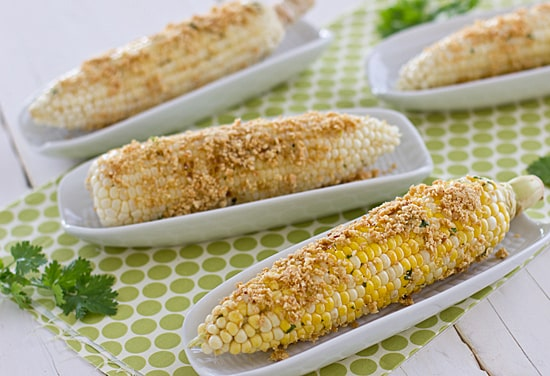 Thai Style Grilled Corn with Roasted Peanuts