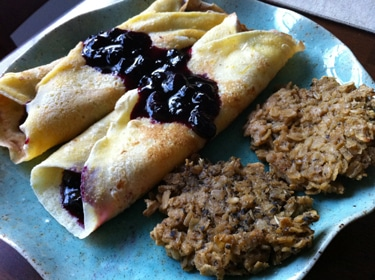 Cornmeal Crepes with Blueberries and Vegan Sausage Patties