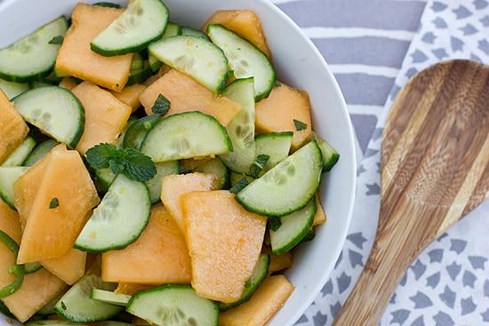 Spicy Cantaloupe Cucumber Salad