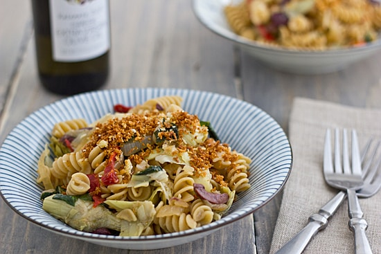 Mediterranean-Style Rotini with Toasted Garlic Panko