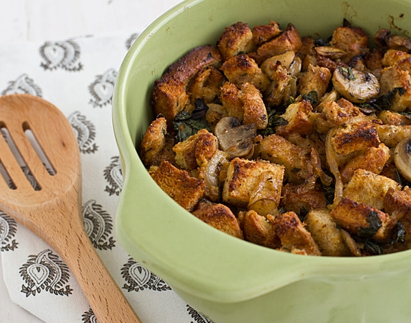 Gluten-Free Stuffing with Kale, Caramelized Onions, and Mushrooms Recipe