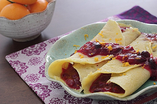 Cornmeal Crepes with Mandarin Cranberry Sauce