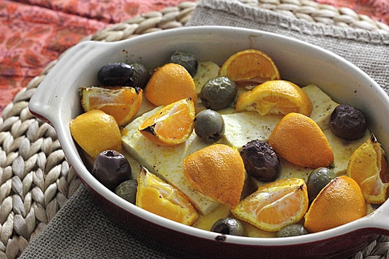 Roasted Tofu with Tangerines and Olives