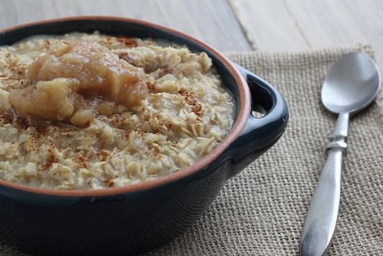 Oatmeal with Chai Spiced Slow Cooker Pear Applesauce