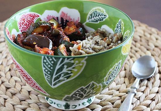 Rice & Lentil Pilaf with Greek Veggies
