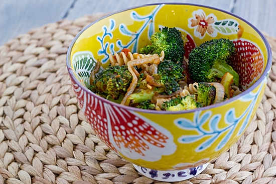 Rotini with Caramelized Onions & Roasted Broccoli