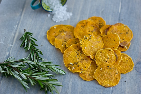 Baked Sweet Potato Chips with Rosemary & Sea Salt