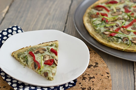 Pesto Pizza with Roasted Red Peppers, Cremini Mushrooms & Asparagus