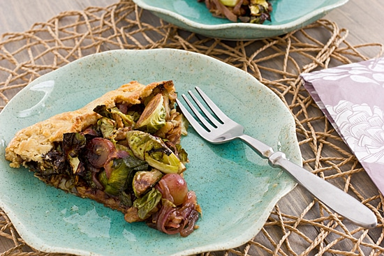 Brussels Sprout & Grape Galette Slice