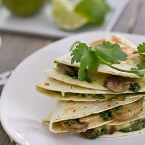 Mushroom and Zucchini Quesadillas with Cilantro Pesto