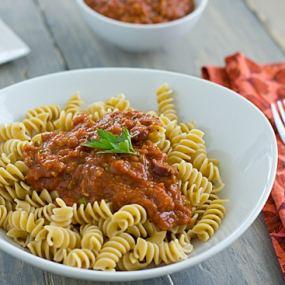 Roasted Vegetarian Puttanesca on Pasta
