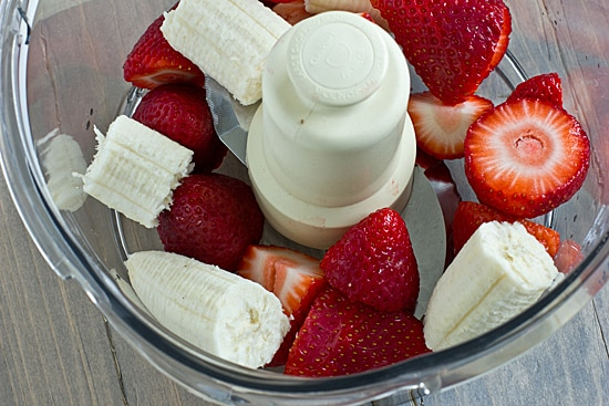 Strawberries and Banana in Food Processor