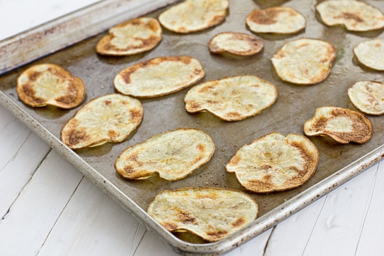 Baked Sriracha Potato Chips on Baking Sheet