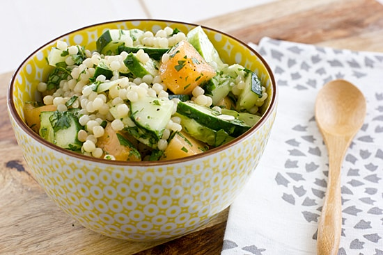 Israeli Couscous with Cantaloupe, Cucumber, and Cilantro