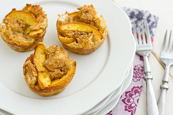 Brown Sugar Peach French Toast Cups [on plate]