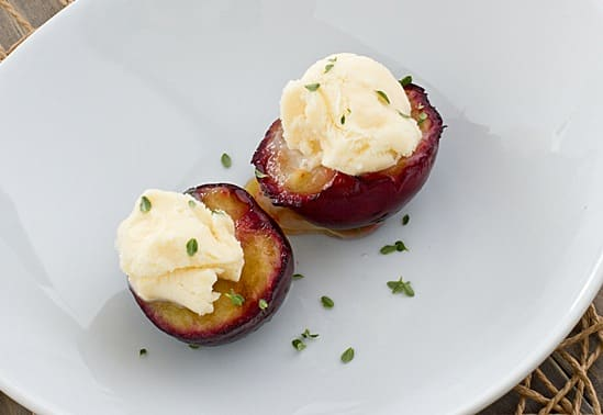 Grilled Plums with Lemon Thyme