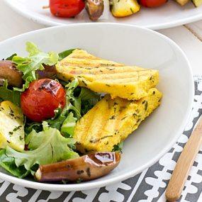 Grilled Veggie Salad with Parmesan Polenta Recipe