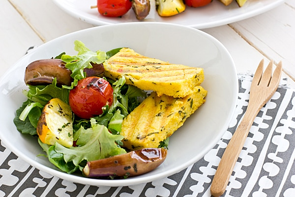 Grilled Veggie Salad with Parmesan Polenta Recipe