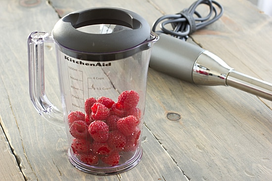 Raspberries in Blending Pitcher