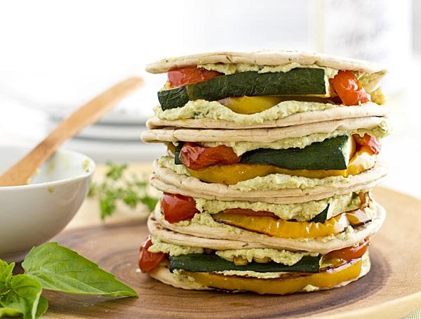 Edamame Hummus & Roasted Veggie Sandwiches