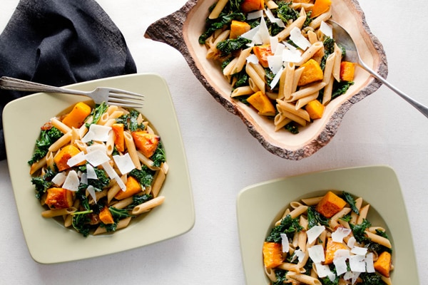 Penne with Butternut Squash & Kale Feature