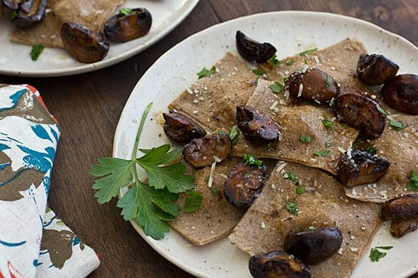 Asparagus Ravioli with Pan-Seared Mushrooms Recipe