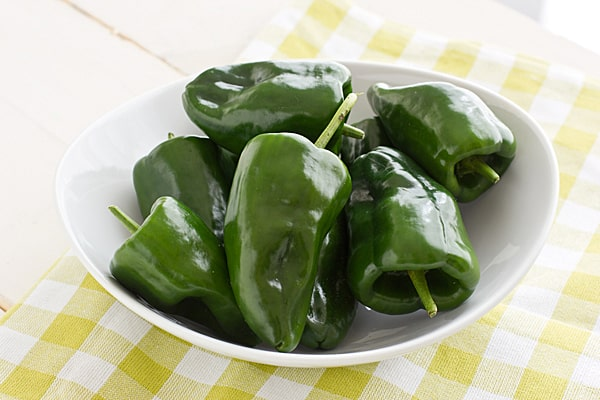 Bowl of Poblano Peppers