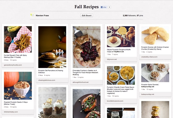 Fall Recipe Board