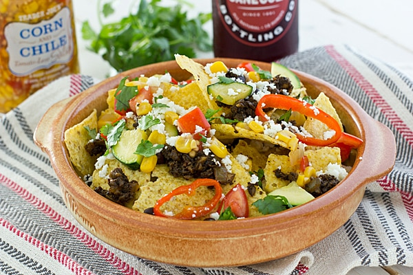 Loaded Veggie Nachos with Portabella Mushroom Meat