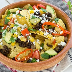 Loaded Veggie Nachos with Portabella Mushroom Meat Recipe