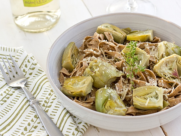 Whole Wheat Black Pepper Fettuccine with Baby Artichokes
