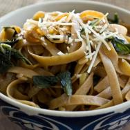 Fettuccine with Caramelized Onions & Mustard Greens