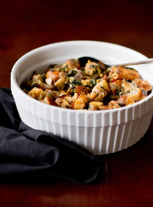 French Bread Stuffing with Swiss Chard & Caramelized Red Onions